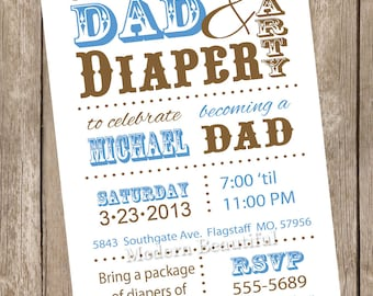 Dad diaper baby shower invitation, diaper baby shower, dad baby shower, brown, blue, printable invitation