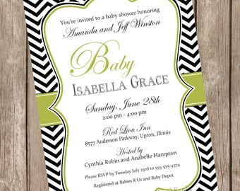 Elegant baby shower invitation, neutral baby shower invitation, olive green, black, chevron, printable invitation