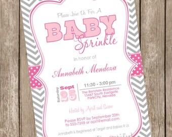 Girl Sprinkle Baby Shower Invitation Pink and Grey Chevron printable invitation