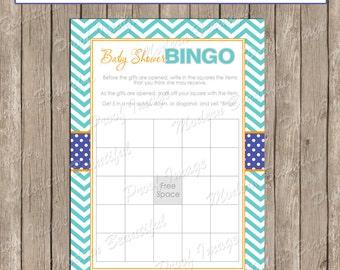 Baby Shower Bingo - Orange Teal Aqua Chevron Baby Shower Bingo - ll1 INSTANT DOWNLOAD