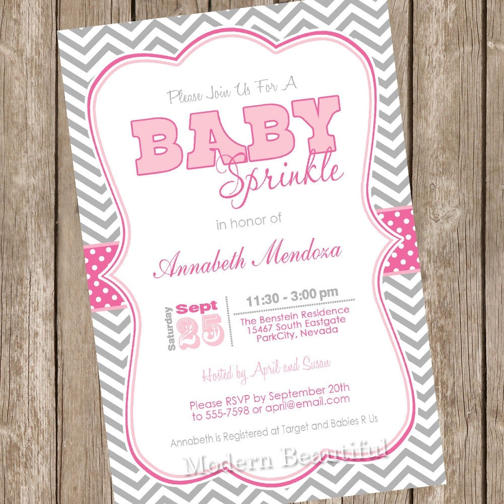 girl sprinkle baby shower invitation pink and grey chevron, Baby shower invitations