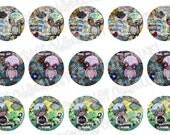 Bottlecap Images Digital Collage Sheet One Inch Circles Whimsical Owls Set 2 4x6 Bottle Caps