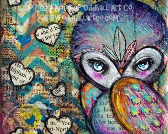 Mixed Media Owl Big Eyed Art Giclee Print Signed Reproduction Wisdom by Lizzy Love [IMG#127]