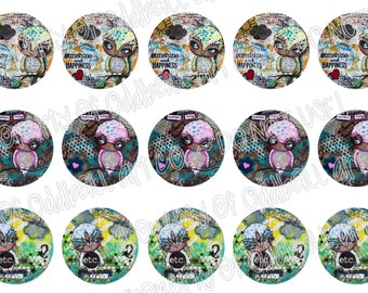 Bottlecap Images Digital Collage Sheet One Inch Circles Whimsical Owls Set 2 4x6 Bottle Caps