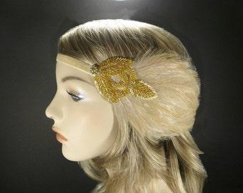 Art Deco Wedding Headpiece, Gold Gatsby Headband, Flapper Headband, Flapper, Feather Headband, Gatsby Headpiece, 1920s Wedding Headband