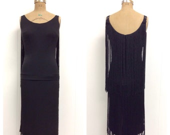 1950s Black Fringe Dress 50s Sydney North