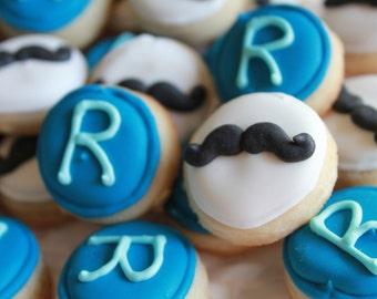 5 dozen Mustache and Monogram Mini Cookie NIbbles