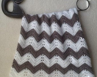gray chevron ripple baby blanket baby afghan crochet grey and white gray and white handmade ready to ship