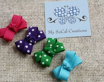Itty Bitty Bow Clip Set/Infant Toddler Hair Clips/Fine Hair/Baby Snap Clips