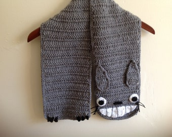 Ready to ship, Totoro scarf, crochet, 65 inches