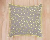 Neon Yellow Spot Linen Cushion