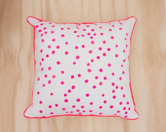Neon Pink Spot Canvas Cushion