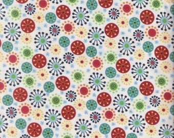Off White  Fabric Polka Dot Fabric Abstract Fabric Floral Circles Fabric Cotton Fabric Quilting Fabric, Craft Supplies YacketUSA