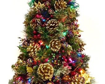 """Bright Jewel Tone Tabletop Christmas Holiday Tree with Colored Lights  ( 24"""" )"""
