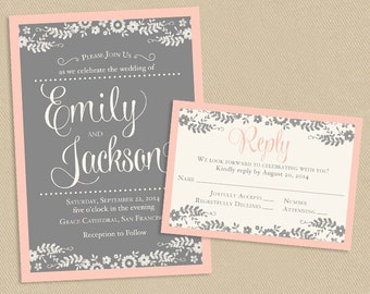 Blush and Gray Wedding Invite and RSVP White Flowers