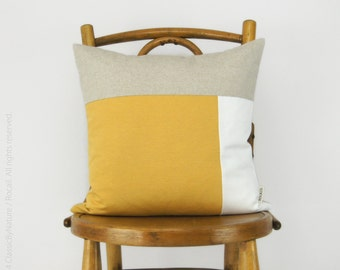 Color Block Decorative Pillow Case in Mustard, White and Natural | Geometric 16x16 inches Cushion Cover | Modern and Minimalist Home Decor