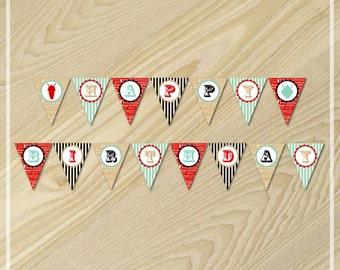 Ice Cream Party - Happy Birthday Banner - Ice Cream Birthday Party