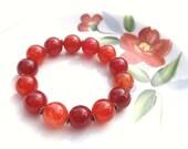 Orange Stretch Bracelet, Agate, Stacking, Stone, Tangerine, Rust, Peach, Summer, Fall