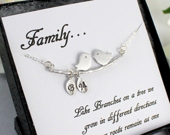 Personalized Family Bird Bracelet - Silver Love Birds Bracelet, Family Initial Bracelet, Children's Initials, Mother's Bracelet Gift Idea