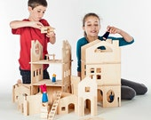 Build Your Own Wood Dollhouse with Towers // Spark Creativity With Modular Wooden Building Pieces // Waldorf Inspired DIY Interactive Toy