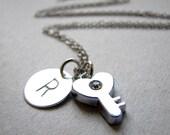 Initial Necklace, Skeleton Key Initial Necklace, Silver Initial Necklace, Silver Key Necklace, Silver Monogram Necklace, Key Love