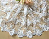 Off White Wide Cotton Tulle Lace Trim 3 Layers Rose Floral Embroidered Lace Fabric 12.5 Inches Wide Wedding Lace Veil 1 yard
