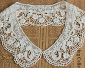 Cream White Venice Cotton Lace Collar Appliques Floral Embroidered Collar 1 pcs