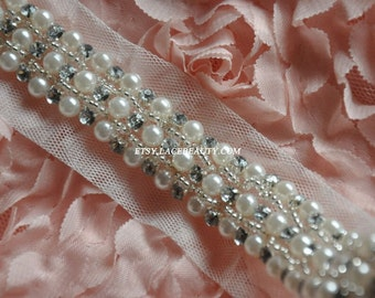 Ivory Beaded Lace Trim Pearl Rhinestone Beaded Trim 1 Yard For Costume Wedding Dress Belt Brial Sash Jewelry Design