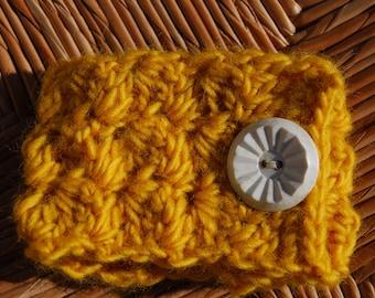 Yellow Crocheted Cuff Bracelet