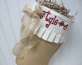 Burlap embroidered Christmas Stocking and bow - Style #6