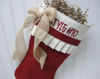 Red burlap pleated stocking with bow - Style #10