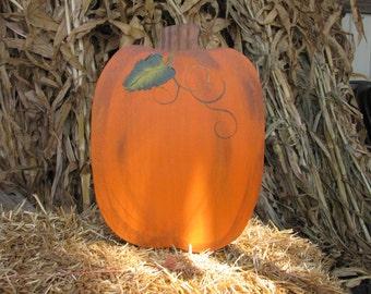 Large Tall Wooden Pumpkin