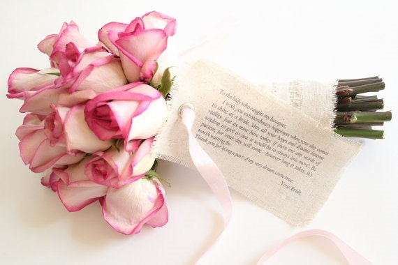 Shabby Chic Wedding Bouquet Wish Tag . bride bouquet . bridal bouquet . fabric bouquet . wedding decor