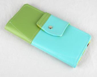 Vinyl Passport Wallet, Turquoise and Green Travel Wallet,  Passport Case