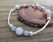 Blue Lace Agate & Angelite Bracelet in Silver