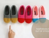 Crochet Slippers in Peanut Butter and Slate Grey