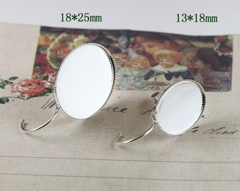 20pcs (10 pairs )  Silver  Color French Earrings Hoops with 13x18mm Oval Cameo Settings