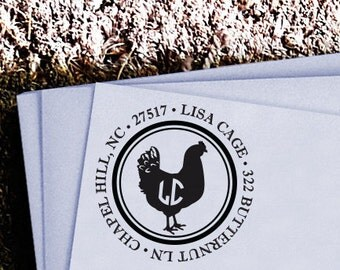 Personalized Custom Return Address Rubber Stamp or Self Inking Stamp - Poultry Hen Farm Eggs - Chicken