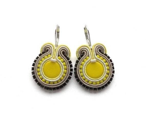 Sunshine Yellow Soutache Earrings Yellow Earings Yellow Earrings Neon Yellow Earrings Bright Yellow Earrings Neon Earring Bright Earrings