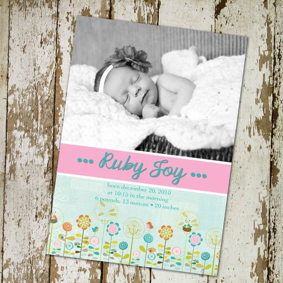 baby girl birth announcement with photo, digital, printable file (item 431)