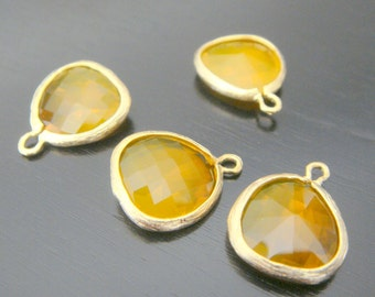 Jewelry Supplies Matte gold Rhodium Plated Glass Pendant Brandy Orange, 12.5 mm, 2 pc