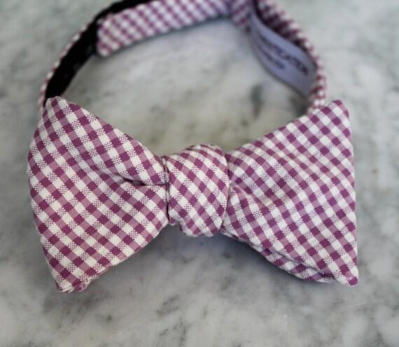 Men's Bow Tie in Purple Seersucker Plaid - Self tying, pre-tied adjustable strap or clip on - Groomsmen attire