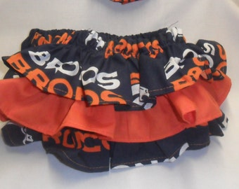 Denver Bronco colors Ruffle Bloomers with Matching Headband  Set --  Football girl - Bronco baby - Denver Bronco  - baby girl