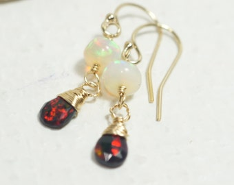 Ethiopian Black opal Earrings Opal Jewelry Birthstone October 14K Gold filled Jewelry