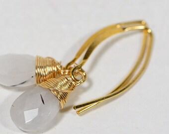 Tourmalated quartz earrings Quartz Earrings Wire wrapped on 14K gold filled wire Half Hoop Earrings Birthstone April