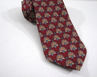 "Vintage Jos. A. Bank Premier Collection Woven Silk Mens Necktie, Tie ... Dark Red Deco Pattern Repeat ... Traditional 3 3/4"" Width, 62"" Long"