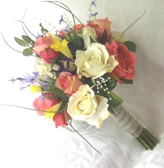 Reserved Coral creme white and summer flower bridal bouquet silk flower wedding bouquet set