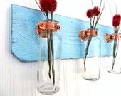 Wall vase sconce, Shabby Chic beach decor, Triple wall vase