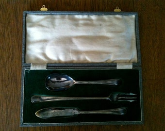 Vintage English Silver Plated Single Dining Cutlery Set Boxed up circa 1930-50's / English Shop
