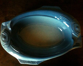 Vintage French oval large fish serving casserole stew pie dish pot circa 1950's / English Shop